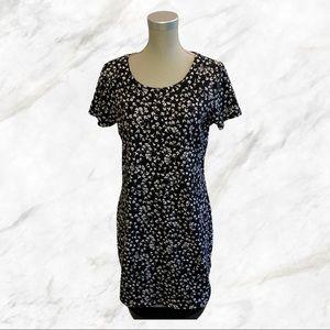 Primark   White Floral Black Midi Dress
